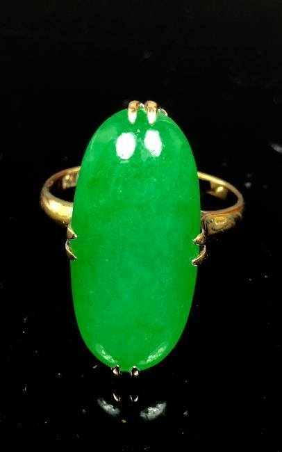 14k yellow gold and  Green Jadeite  Ring