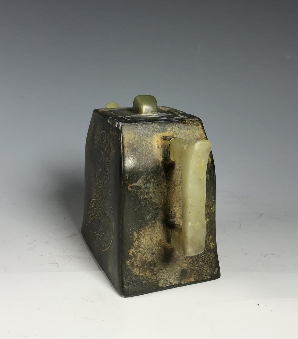 Chinese Pewter and Jade Tea Pot with Mark - 6