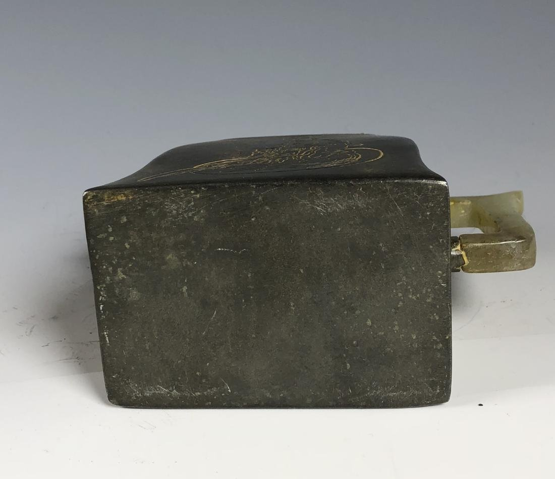 Chinese Pewter and Jade Tea Pot with Mark - 7