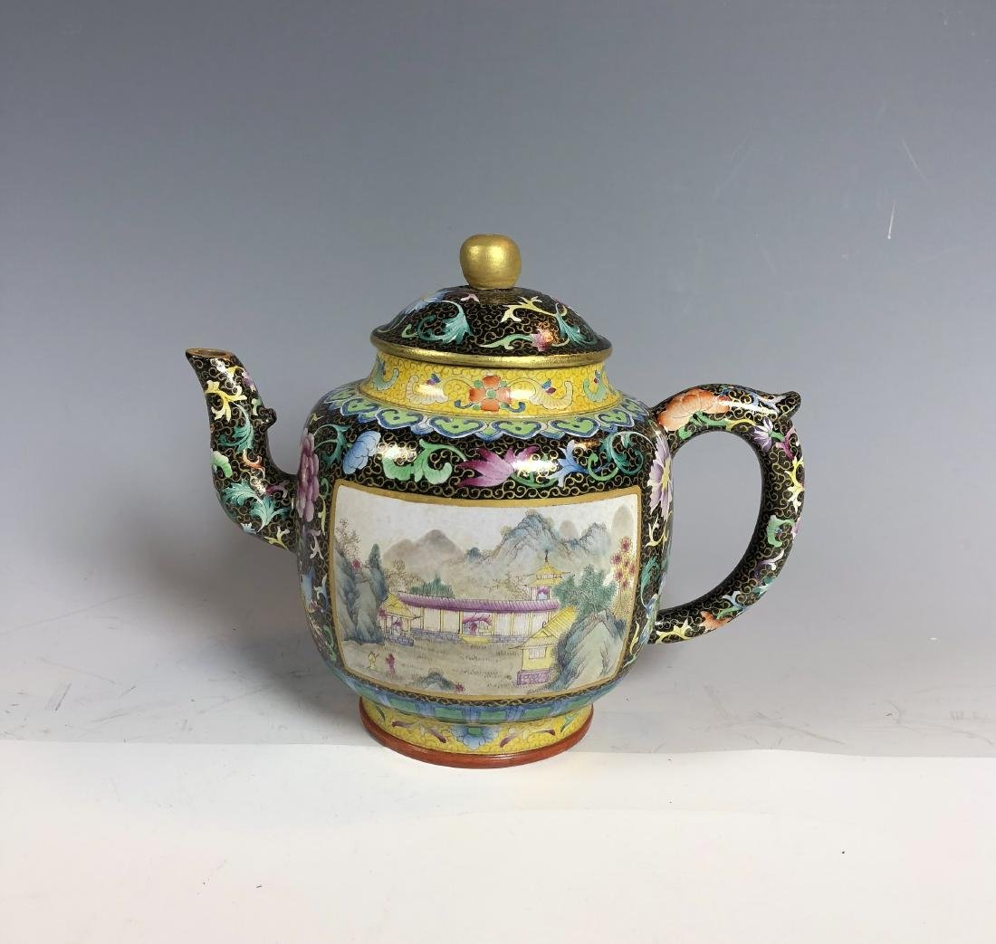 Famille Rose Covered over Zisha Tea Pot with mark