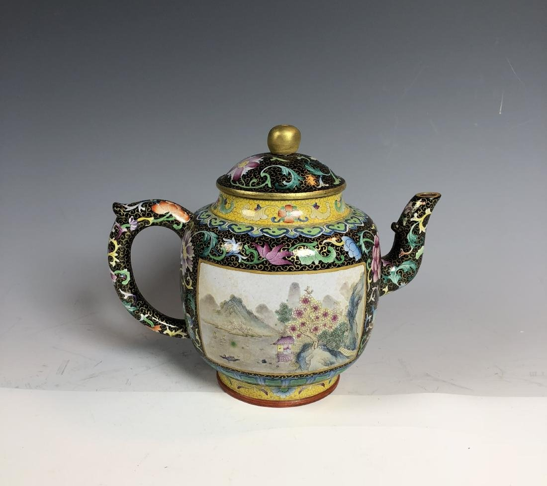 Famille Rose Covered over Zisha Tea Pot with mark - 4