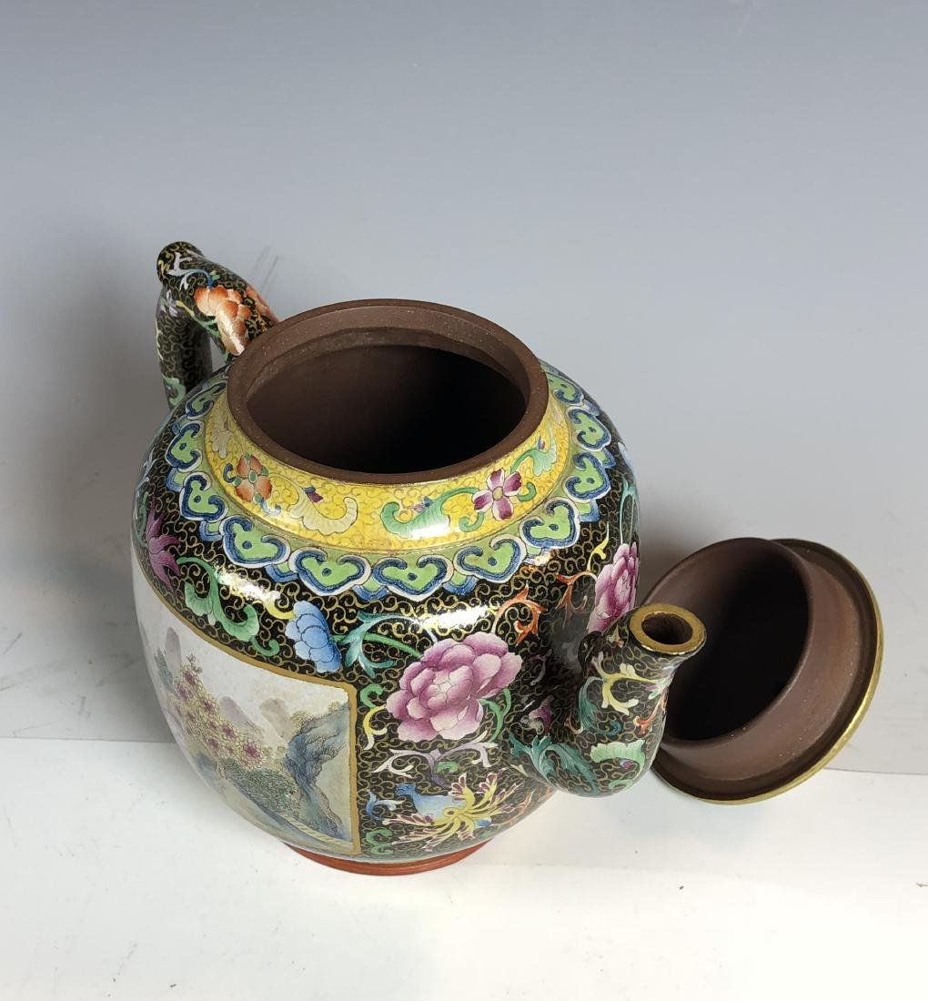 Famille Rose Covered over Zisha Tea Pot with mark - 7