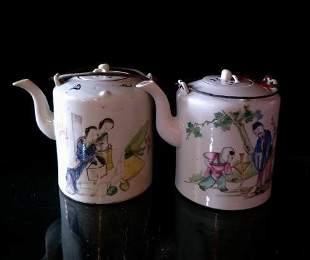 Pair of Porcelain Tea Kettles