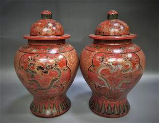 Pair of cinnabar dragon covered ginger jars with mark