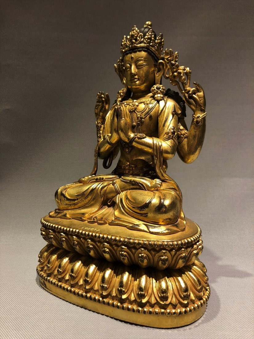 Gilt Bronze Figure of Four Armed GuanYin - 2