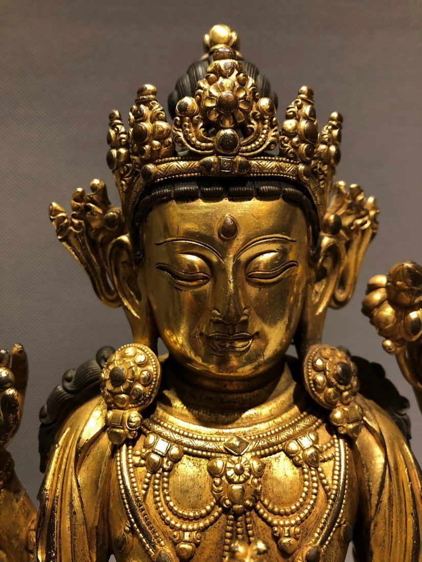 Gilt Bronze Figure of Four Armed GuanYin - 3