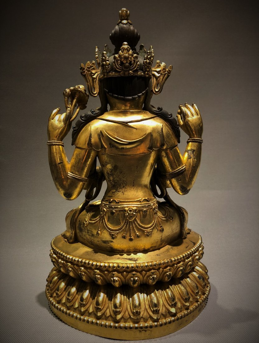 Gilt Bronze Figure of Four Armed GuanYin - 6