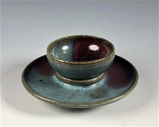 Jun Glazed Cup and Cup Stand