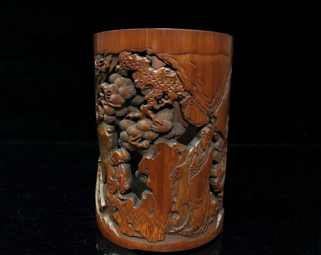 A Carved Bamboo Brush Pot - 2