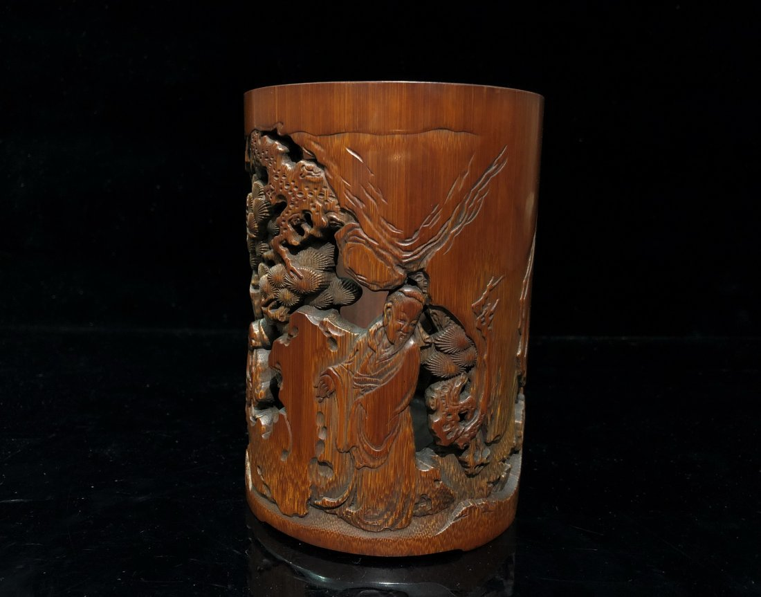 A Carved Bamboo Brush Pot - 3