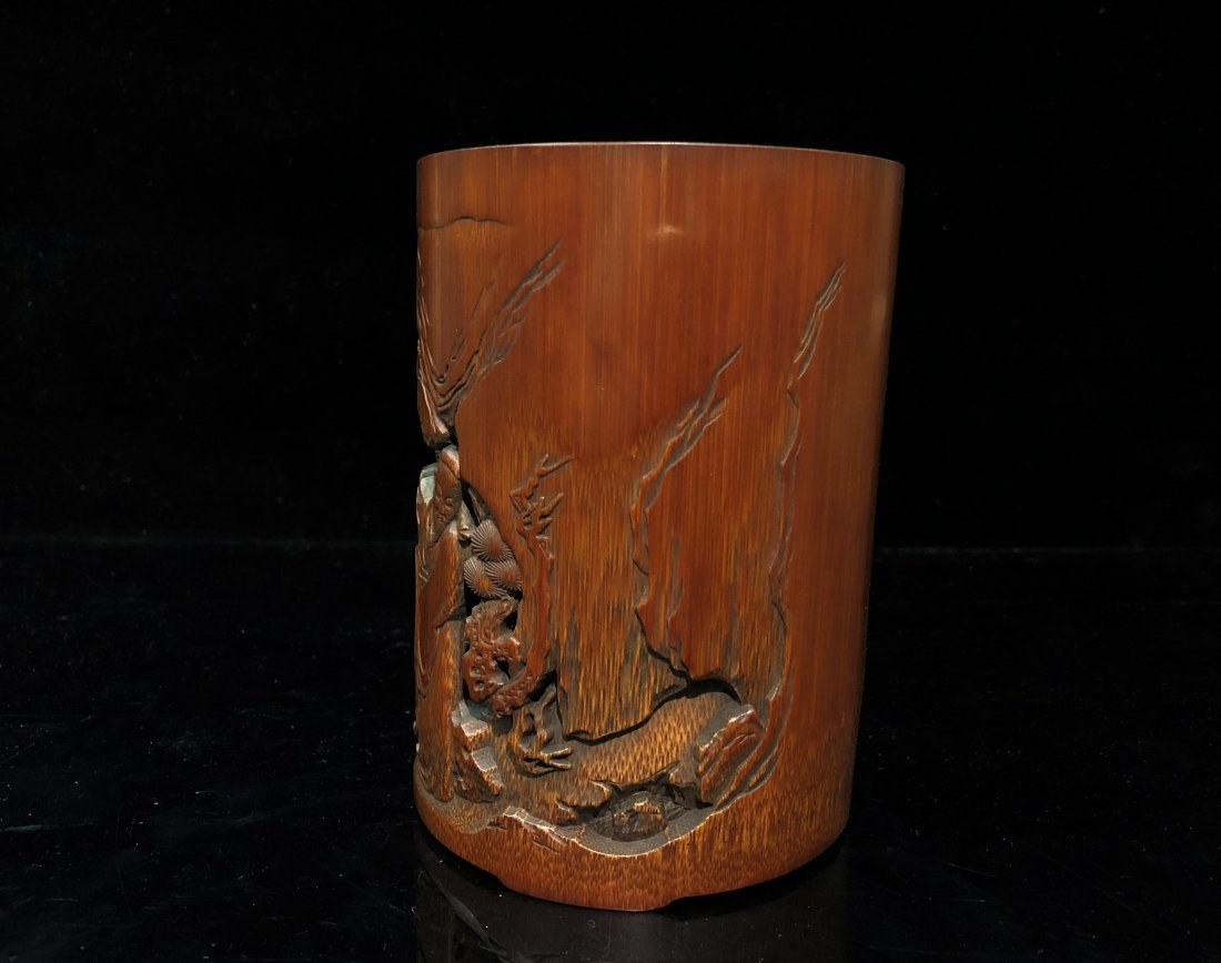A Carved Bamboo Brush Pot - 4