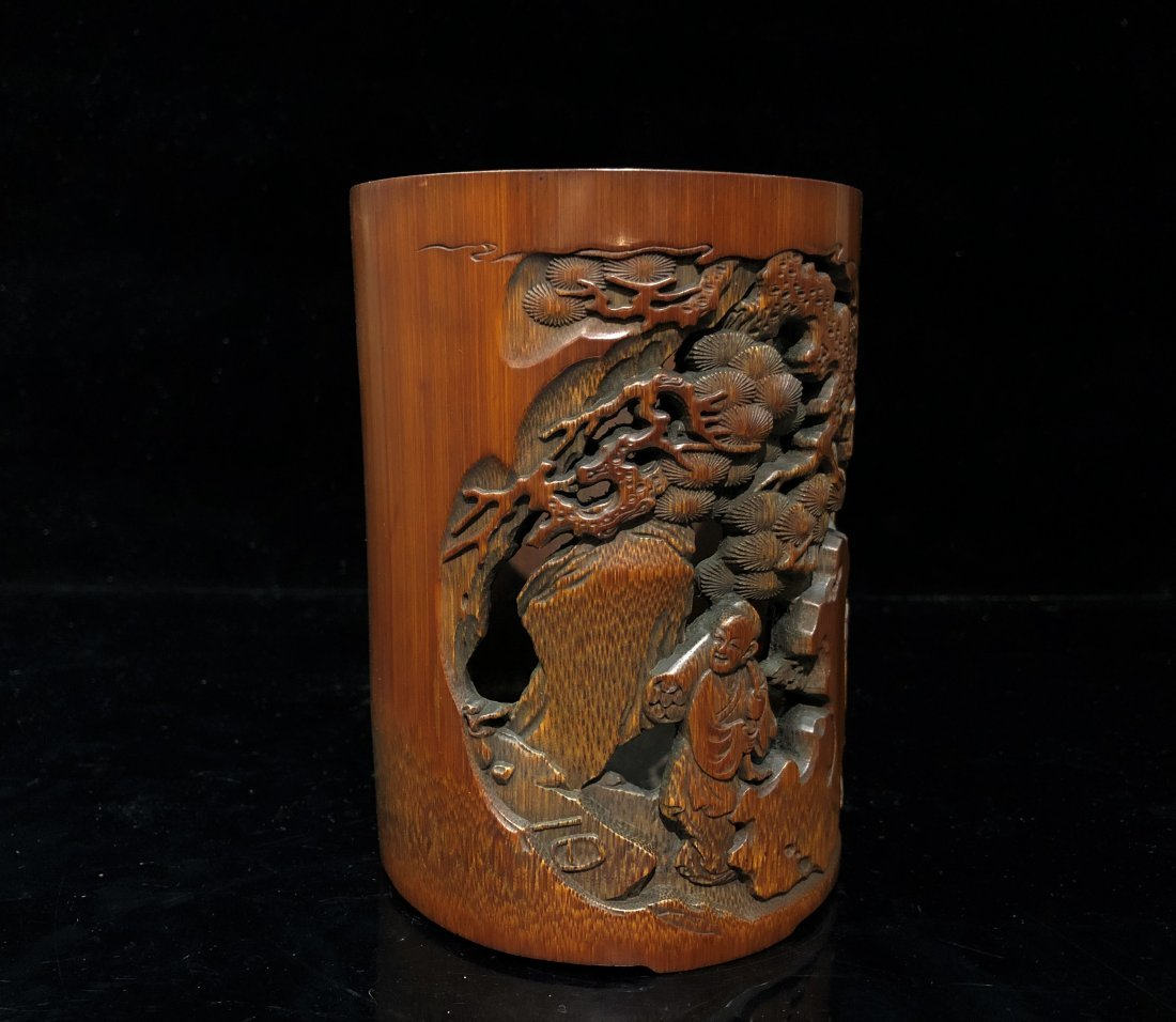 A Carved Bamboo Brush Pot - 6