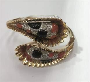 14k gold coral bracelet