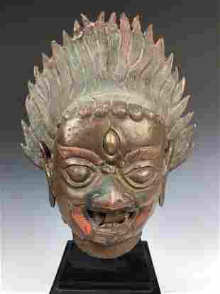 Large Bronze bust of Mahakala