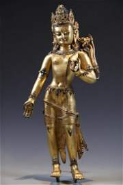 Important Gilt Bronze Figure of Padmapani