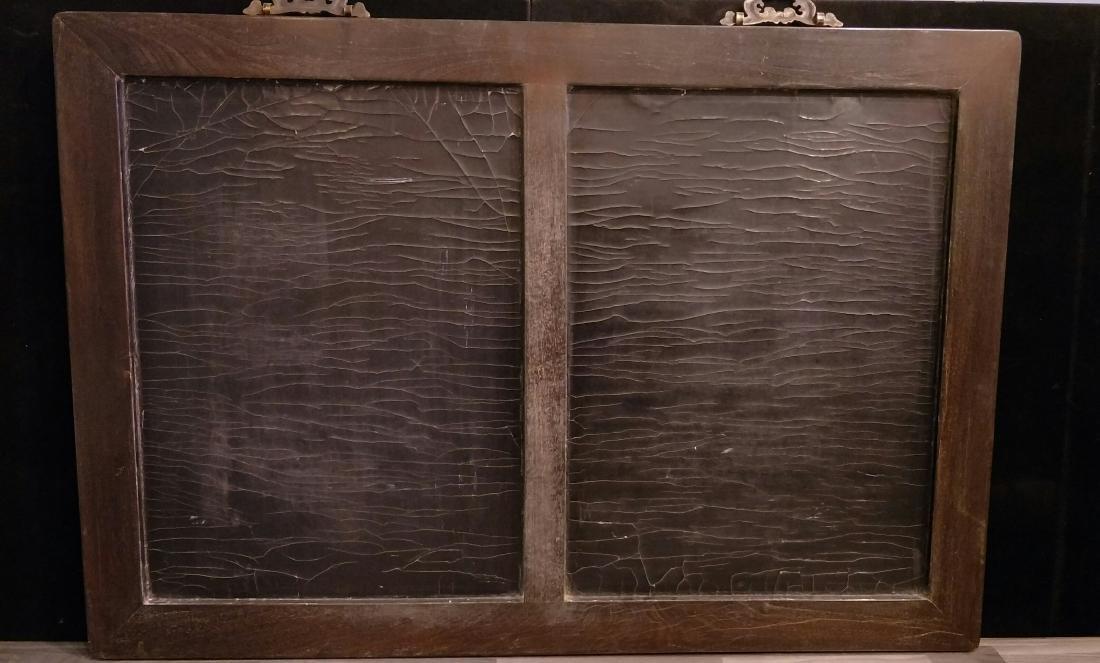 Large Hard Wood Panel Wall Handing with Stone Inlay - 10