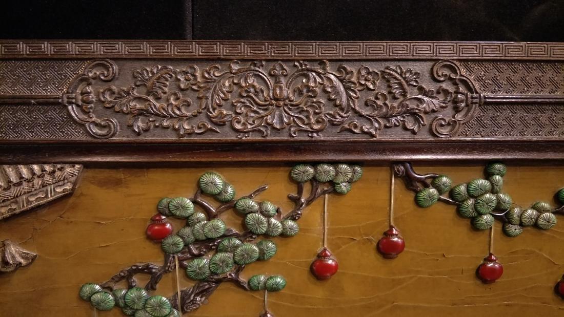 Large Hard Wood Panel Wall Handing with Stone Inlay - 8