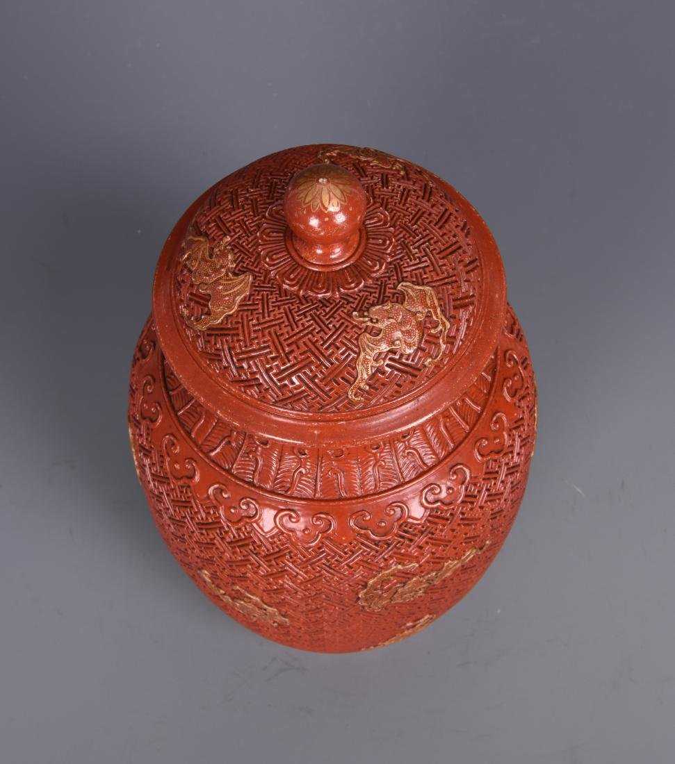 Coral Ground Ginger Jar with Cover - 7