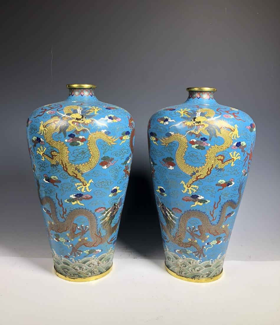 Pair of Cloisonne Enameled Meiping Vase - 2