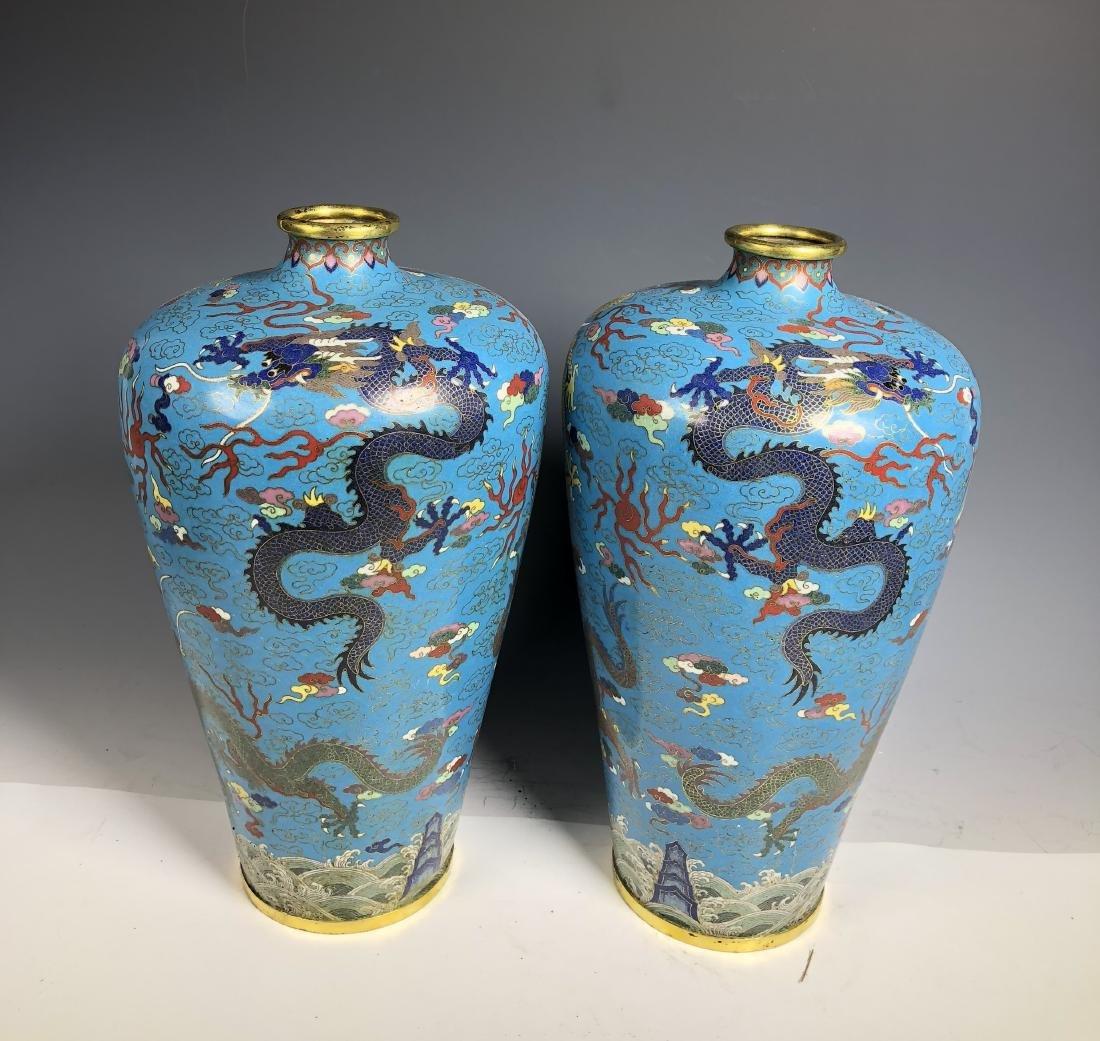 Pair of Cloisonne Enameled Meiping Vase - 3