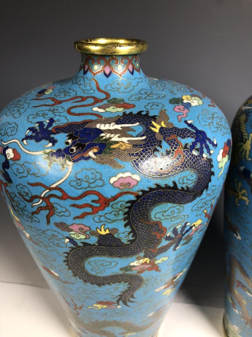 Pair of Cloisonne Enameled Meiping Vase - 5