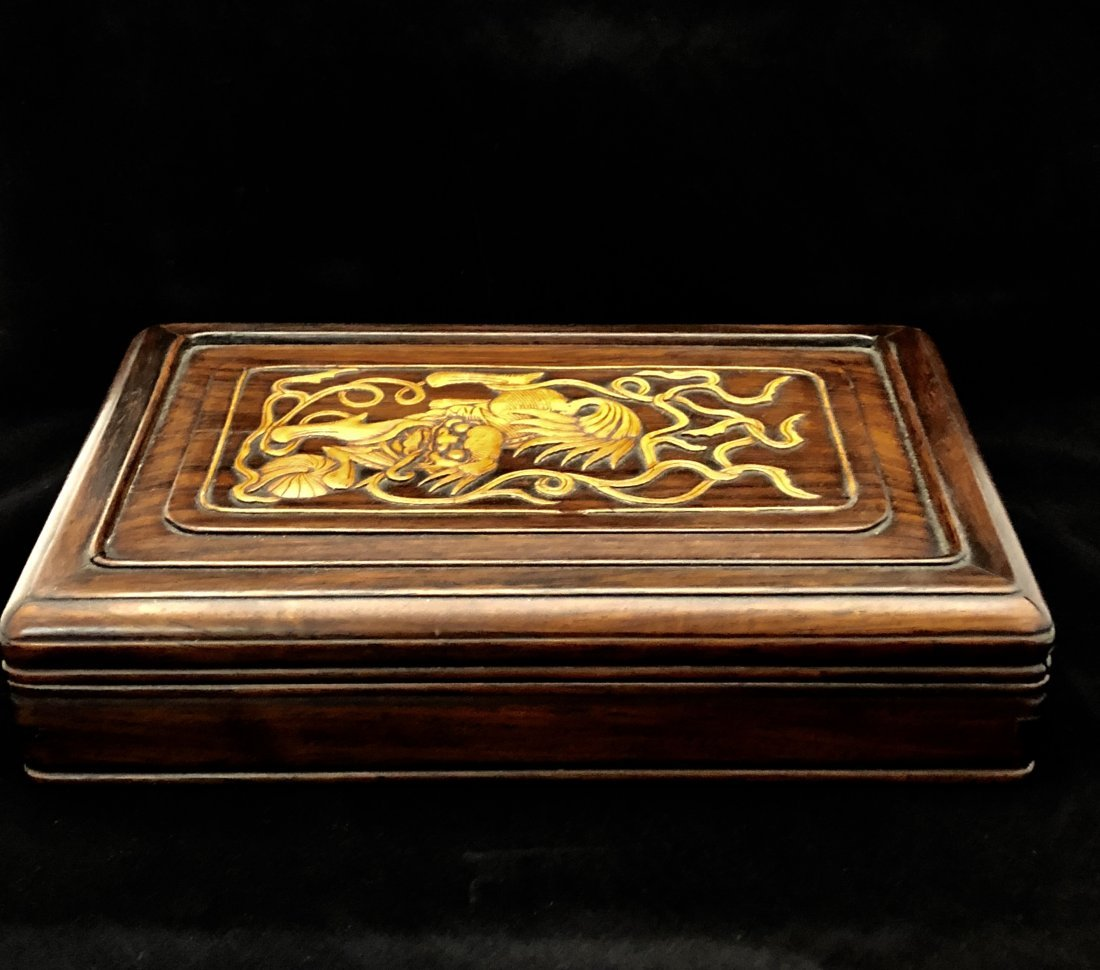 A Chinese Huanghuali Box With Box Wood Inlaiy