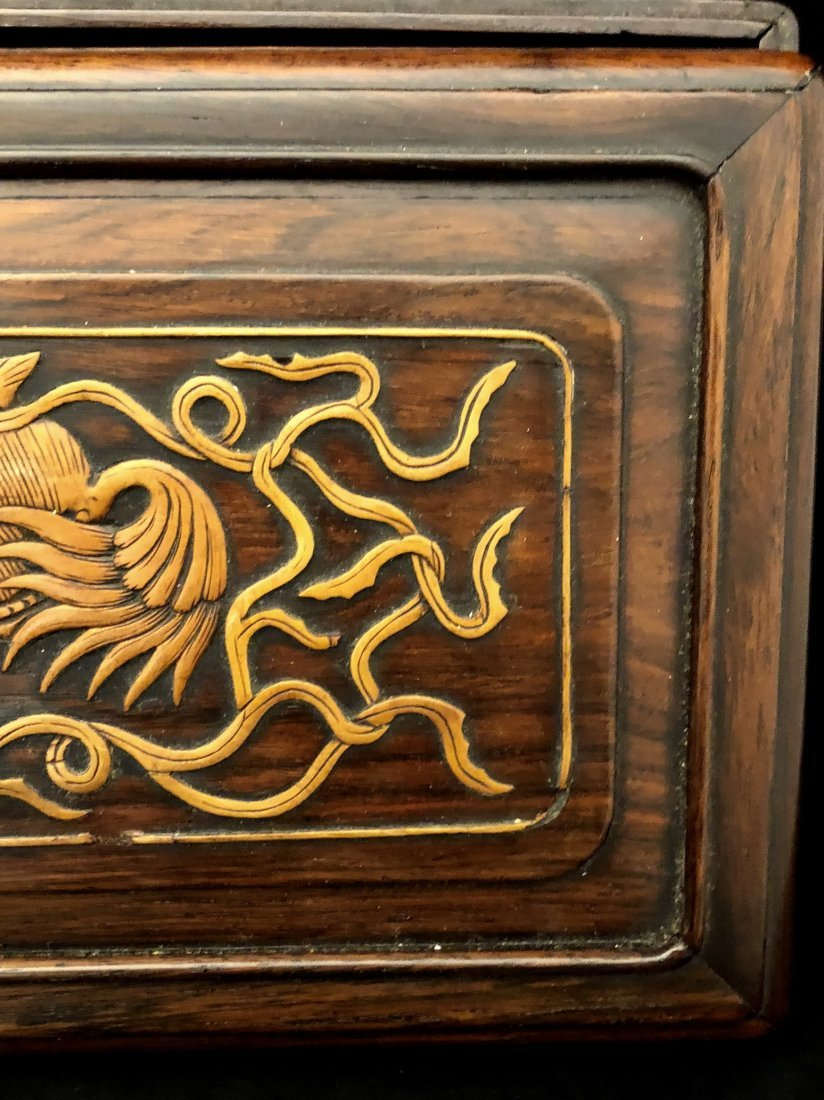 A Chinese Huanghuali Box With Box Wood Inlaiy - 3