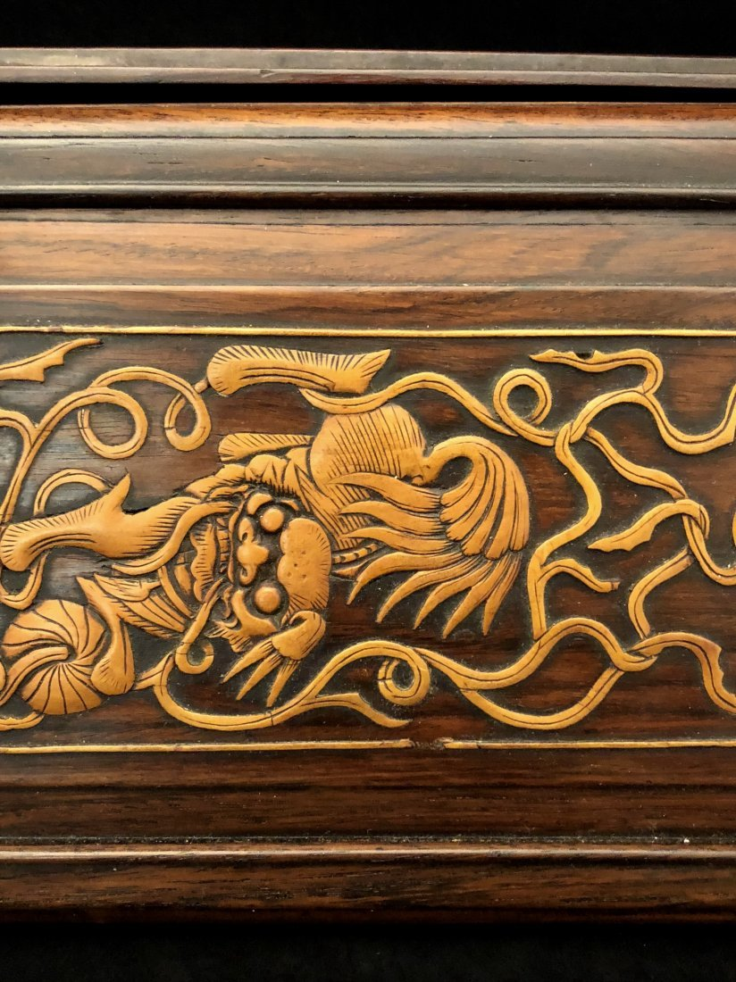 A Chinese Huanghuali Box With Box Wood Inlaiy - 4