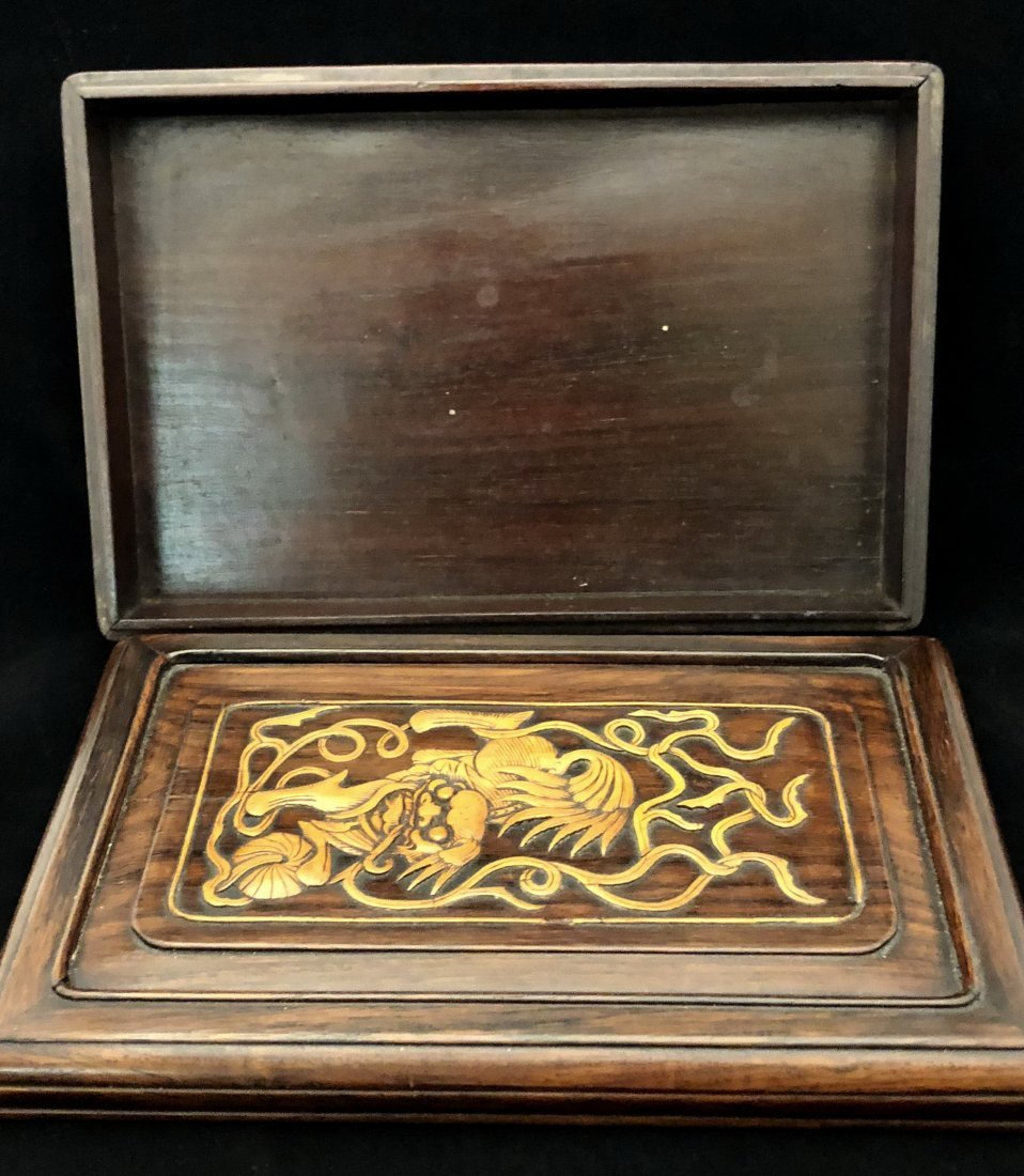A Chinese Huanghuali Box With Box Wood Inlaiy - 5