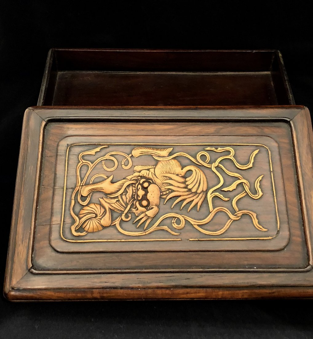 A Chinese Huanghuali Box With Box Wood Inlaiy - 6