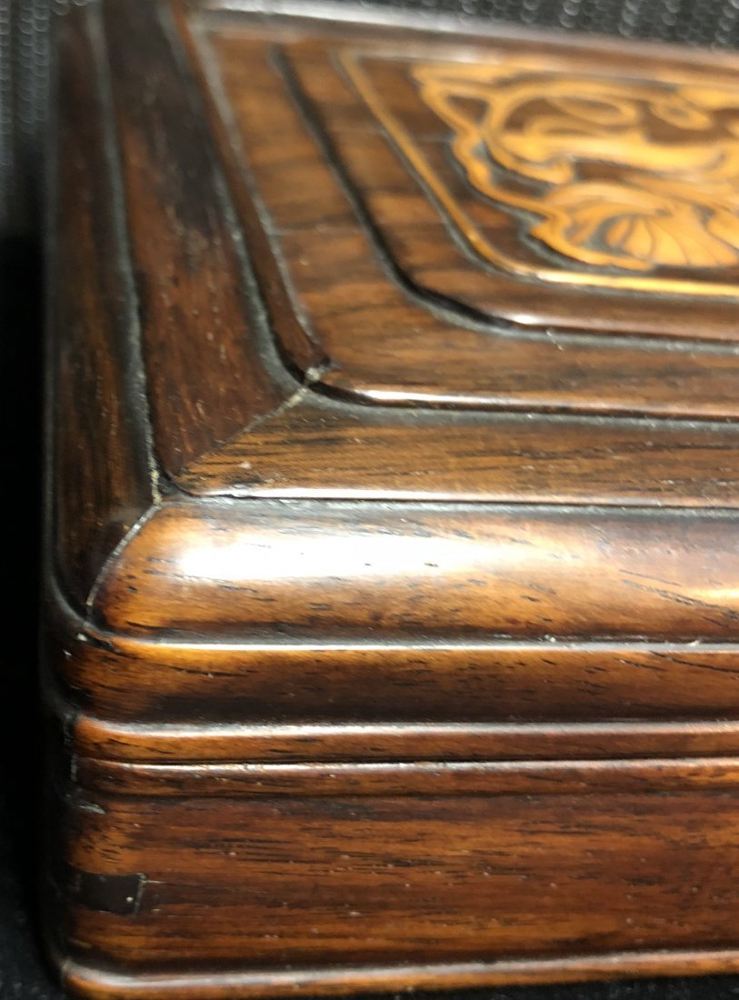 A Chinese Huanghuali Box With Box Wood Inlaiy - 8