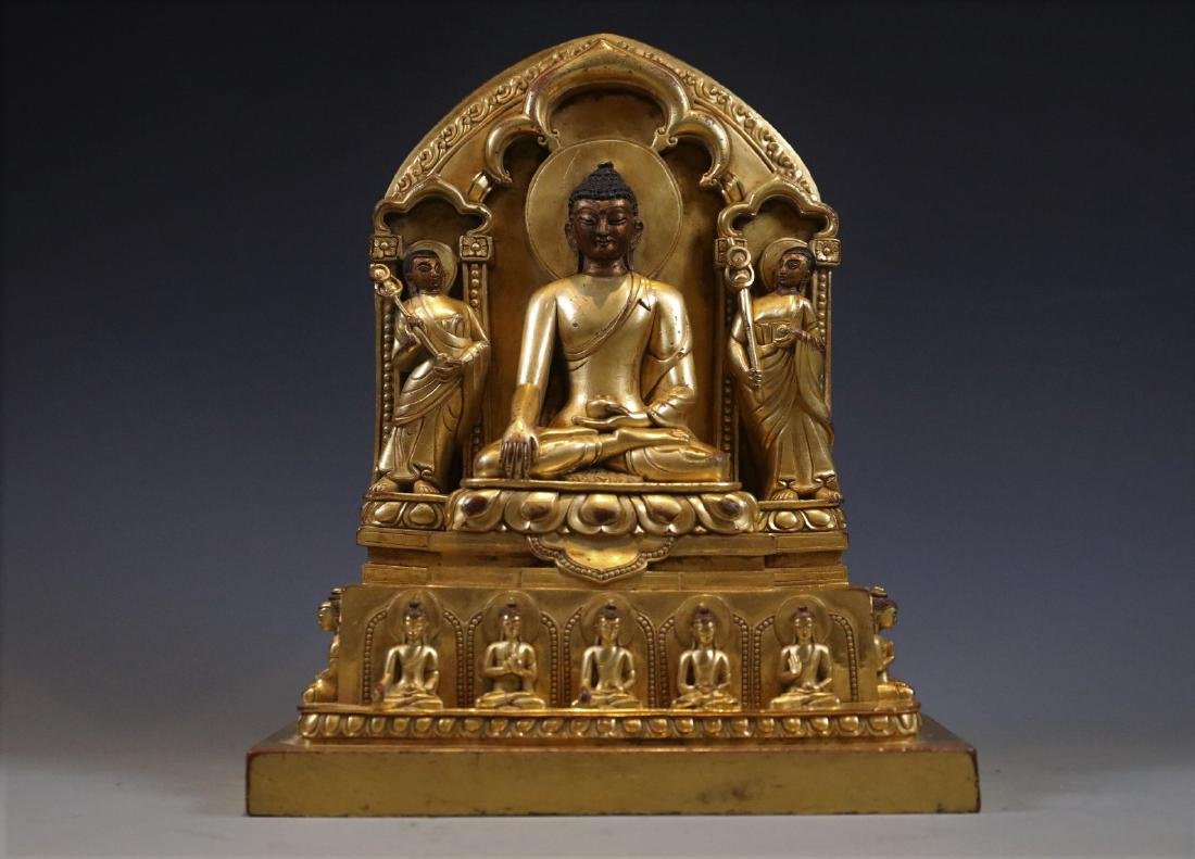 Gilt Bronze Figure of Buddha in Shrine - 2