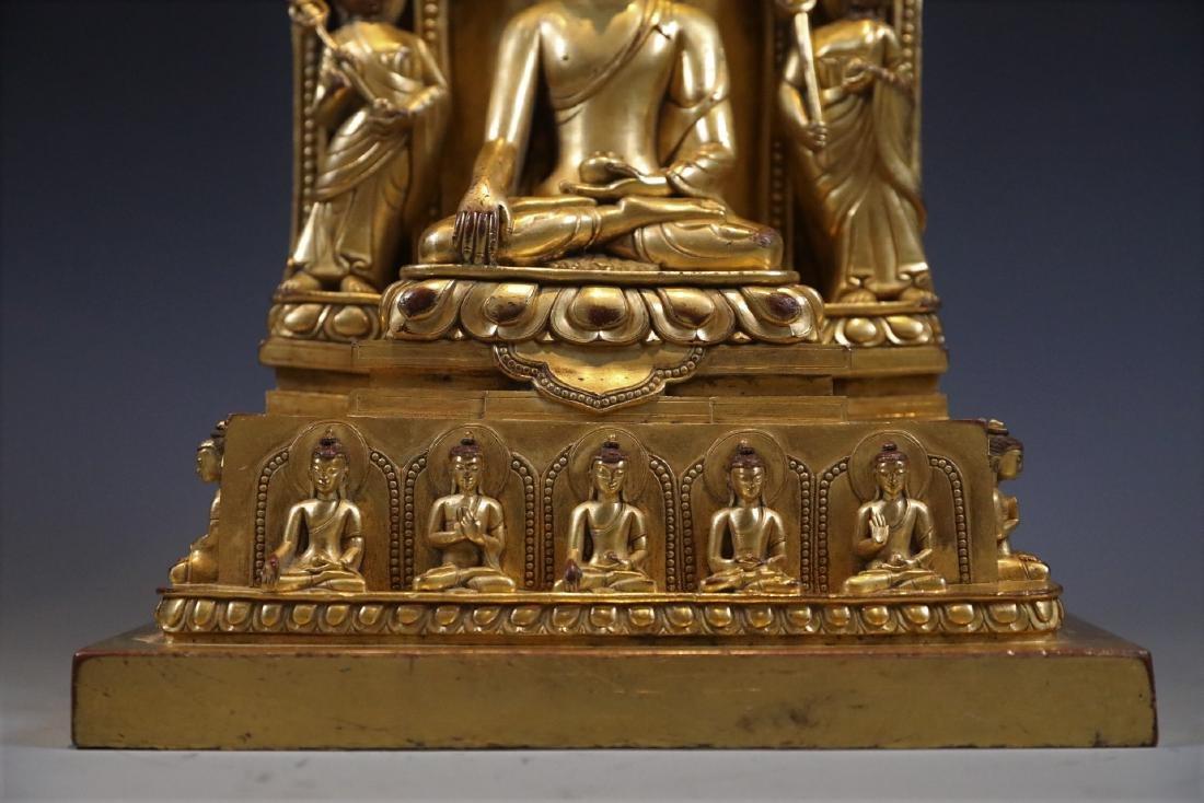 Gilt Bronze Figure of Buddha in Shrine - 4