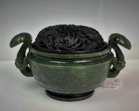 Spinach Green Jade Censer with Wood Cover