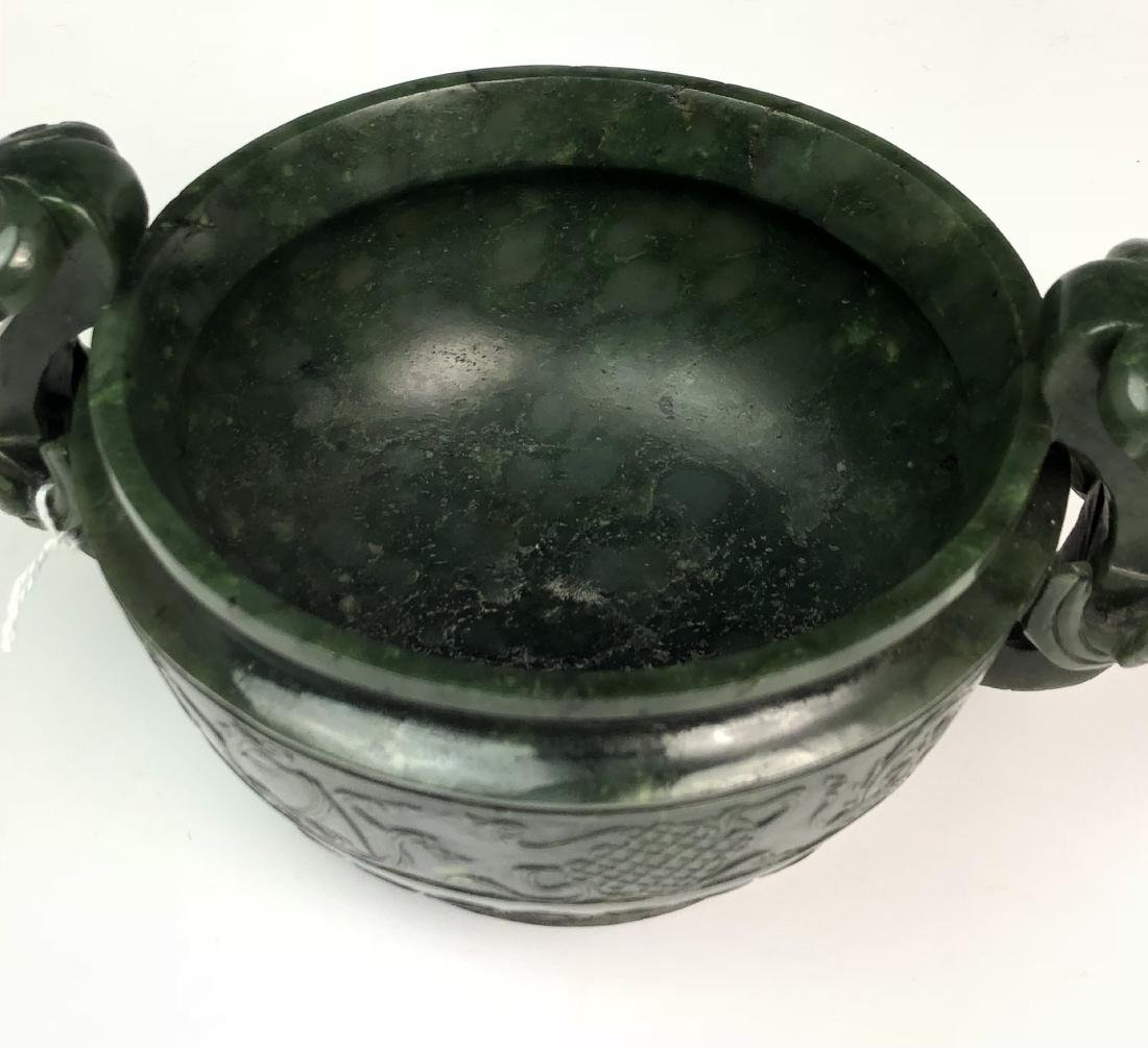 Spinach Green Jade Censer with Wood Cover - 6