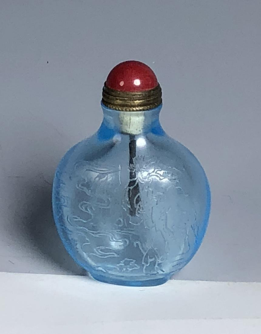 Blue Glass Snuff Bottle with Mark - 9