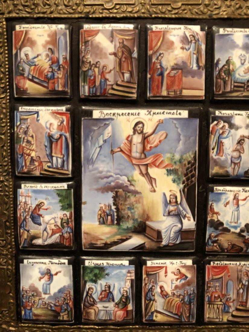 19th C Russian Icon 13 Miniature Scenes On Copper - 3