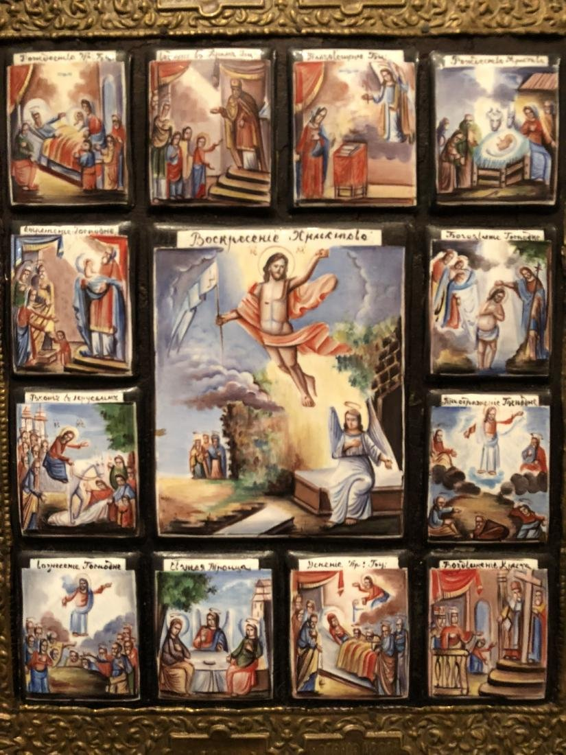 19th C Russian Icon 13 Miniature Scenes On Copper - 4
