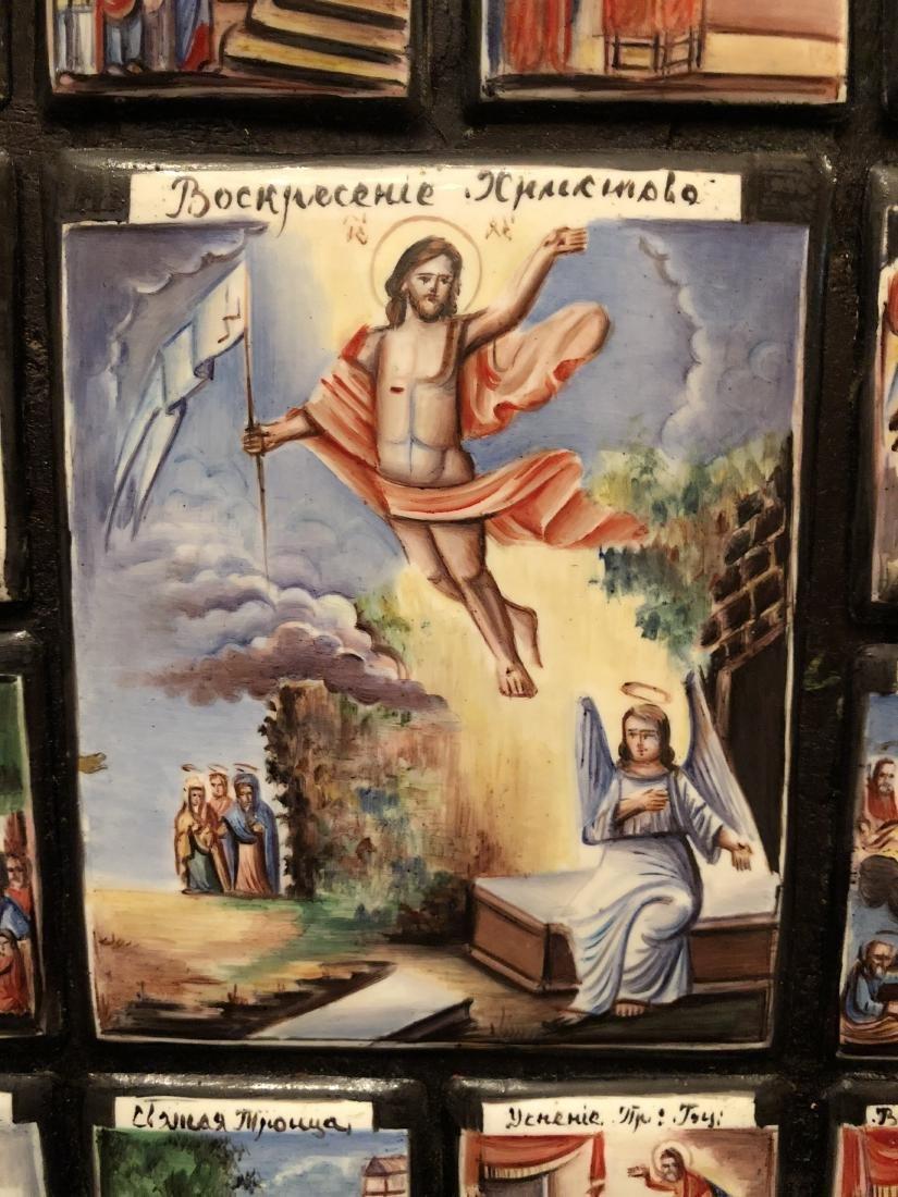 19th C Russian Icon 13 Miniature Scenes On Copper - 5