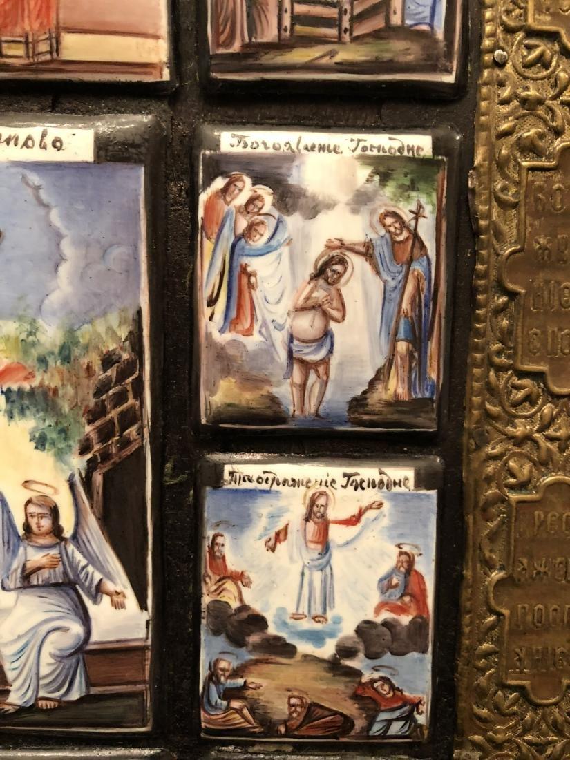 19th C Russian Icon 13 Miniature Scenes On Copper - 6