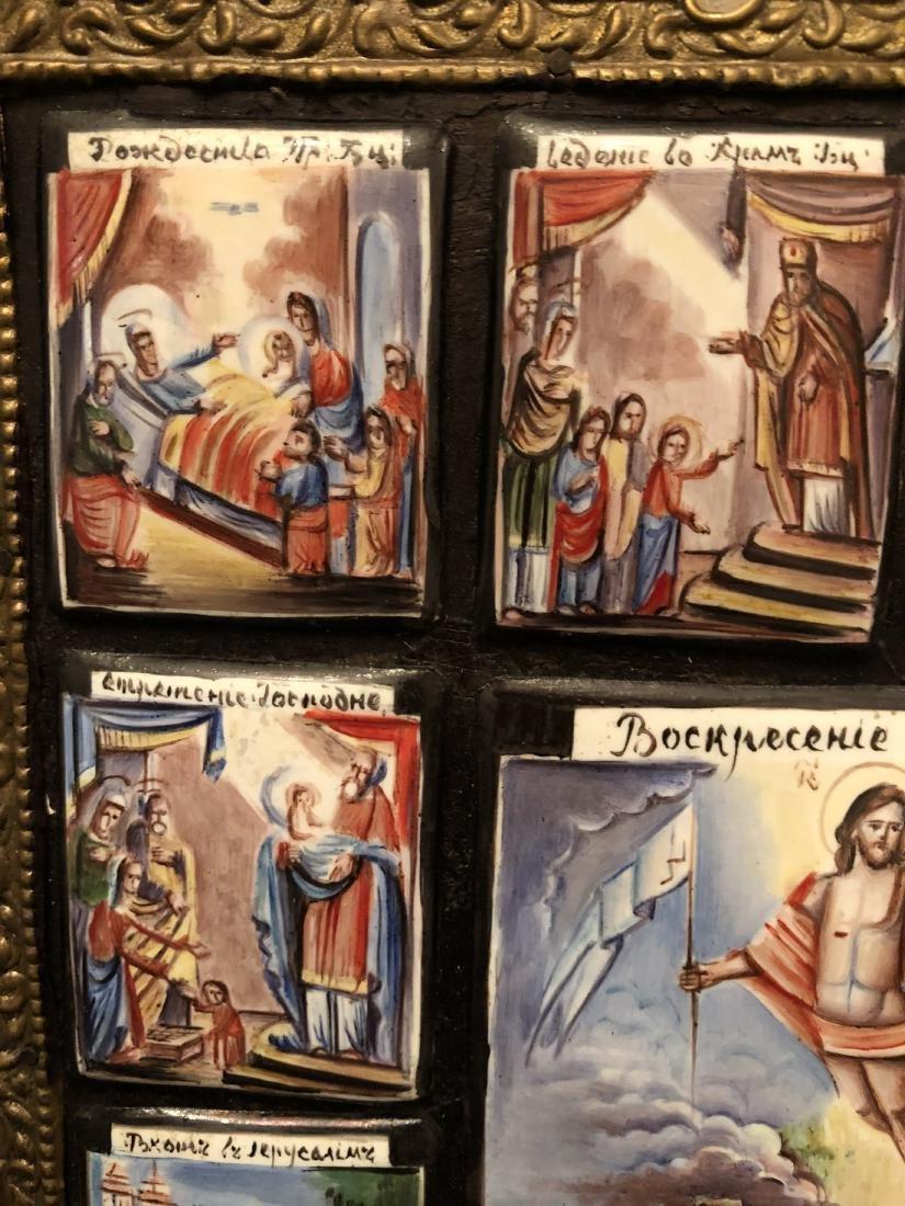 19th C Russian Icon 13 Miniature Scenes On Copper - 7