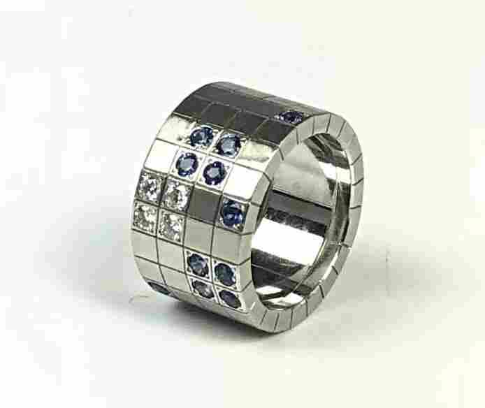 Cartier 18K WG Diamond and Sapphire Ring