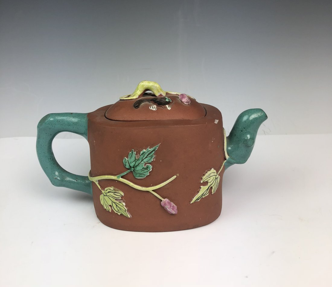 Chinese Enameled Zisha Tea Pot with Mark