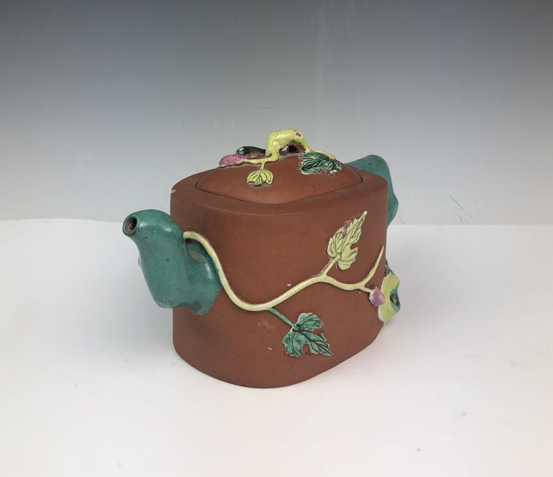 Chinese Enameled Zisha Tea Pot with Mark - 4