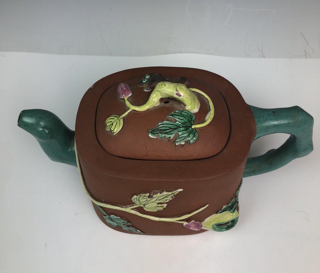 Chinese Enameled Zisha Tea Pot with Mark - 6