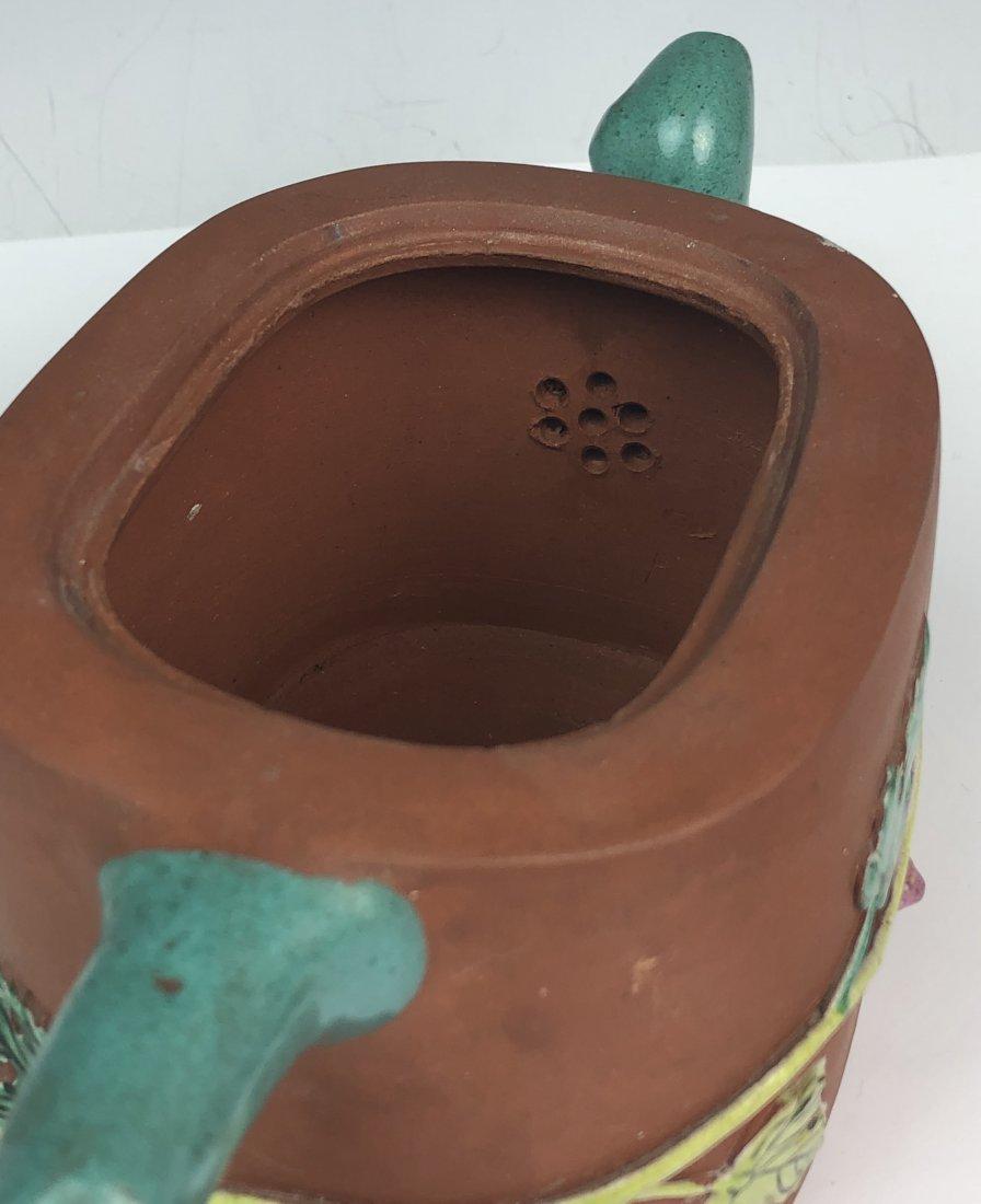 Chinese Enameled Zisha Tea Pot with Mark - 7