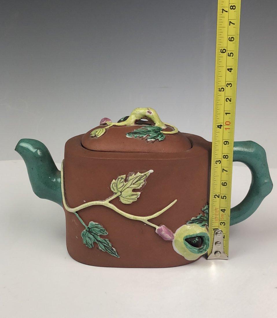Chinese Enameled Zisha Tea Pot with Mark - 8