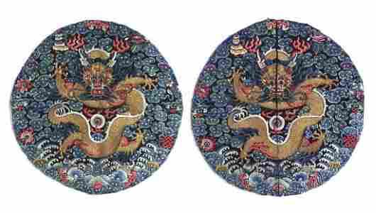 PAIR OF IMPERIAL 'DRAGON' ROUNDEL, GUANGXU PERIOD