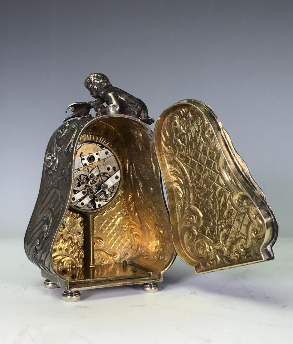SMALL BRASS CARRIAGE CLOCK - 8