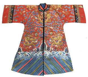 CHINESE EMBROIDERED SILK `DRAGON' ROBE